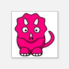 "Cute Pink Triceratops Square Sticker 3"" x 3"""