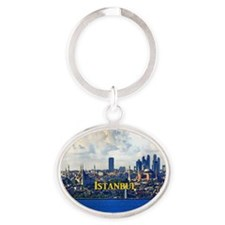 Istanbul_5x3rect_sticker_BlueMosque_ Oval Keychain