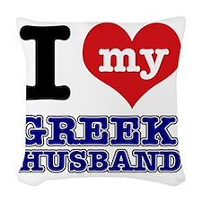 I Love My Greek Husband Woven Throw Pillow