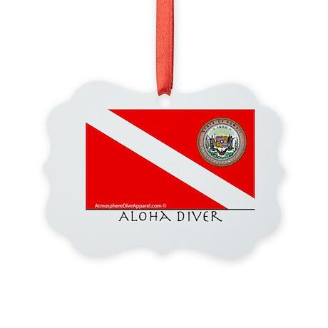 Aloha Scuba Diver Down Flag Picture Ornament