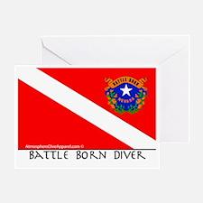 Nevada Battle Born Scuba Diver Flag Greeting Card