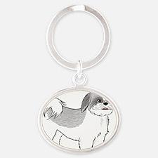pansy Oval Keychain