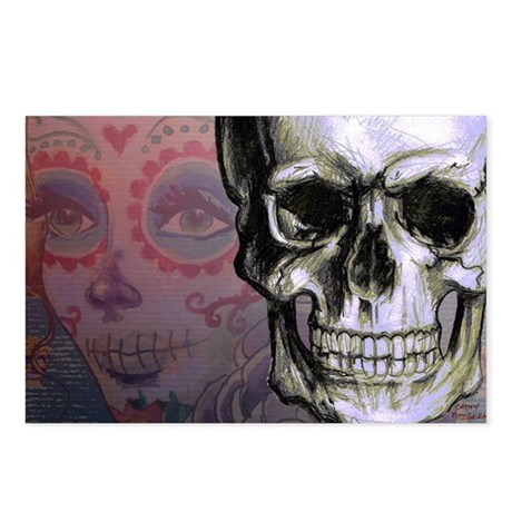 Skull with Dia de los Mue Postcards (Package of 8)