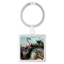 Vintage Pink Flamingo Square Keychain
