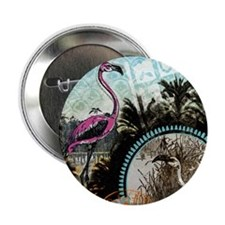 "Vintage Pink Flamingo 2.25"" Button"