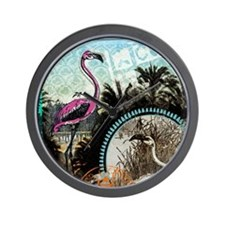 Vintage Pink Flamingo Wall Clock
