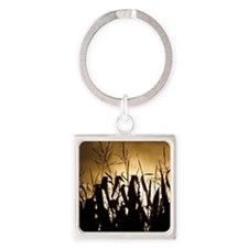 Corn field silhouettes Square Keychain