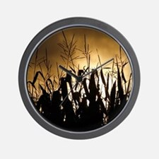 Corn field silhouettes Wall Clock