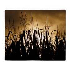 Corn field silhouettes Throw Blanket