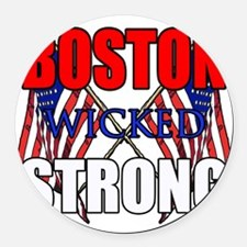 Boston Wicked Strong Round Car Magnet