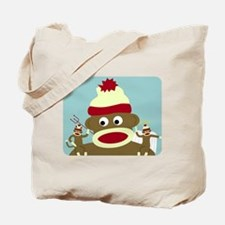 Sock Monkey Angel Devil Good Evil Tote Bag