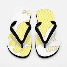Mom To Be Yellow Footprint Flip Flops