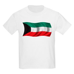Wavy Kuwait Flag Kids Light T-Shirt