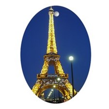 Eifel Tower at Night Oval Ornament