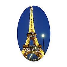 Eifel Tower at Night Oval Car Magnet