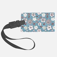 Tropical Hibiscus Carolina Blue Luggage Tag
