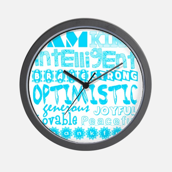 Positive Affirmations (Light Blue) Wall Clock