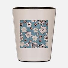 Tropical Hibiscus Carolina Blue Shot Glass