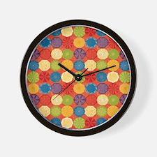 Colorful Beach Umbrellas Summer Orange Wall Clock