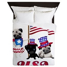USA Pugs 2 Queen Duvet