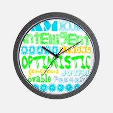 Positive Affirmations (Blue/Greens) Wall Clock