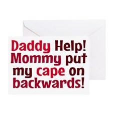 Mommy put my cape on backwards! Red Greeting Card