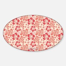 Tropical Hibiscus Pink and Orange Sticker (Oval)