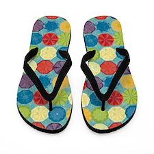 Colorful Beach Umbrellas Summer Blue Flip Flops