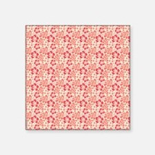 "Tropical Hibiscus Pink and  Square Sticker 3"" x 3"""