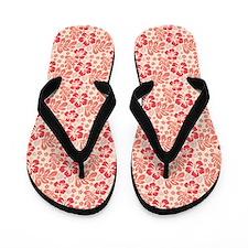 Tropical Hibiscus Pink and Orange Flip Flops
