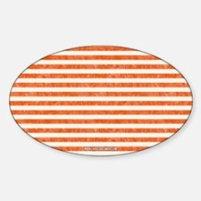 Vintage Orange and White Beach Stri Sticker (Oval)