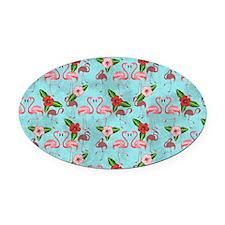 Flamingos Oval Car Magnet