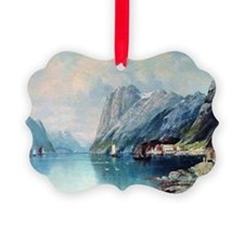 Fjord in Norway, painting by Lev  Ornament
