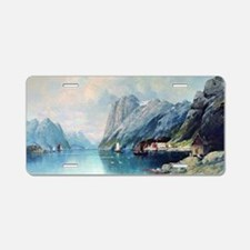 Fjord in Norway, painting b Aluminum License Plate