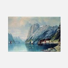 Fjord in Norway, painting by Lev  Rectangle Magnet