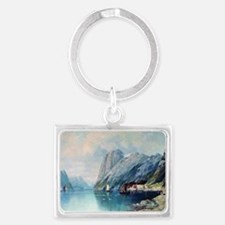 Fjord in Norway, painting by Le Landscape Keychain