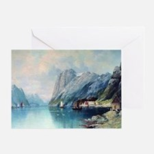 Fjord in Norway, painting by Lev Lag Greeting Card