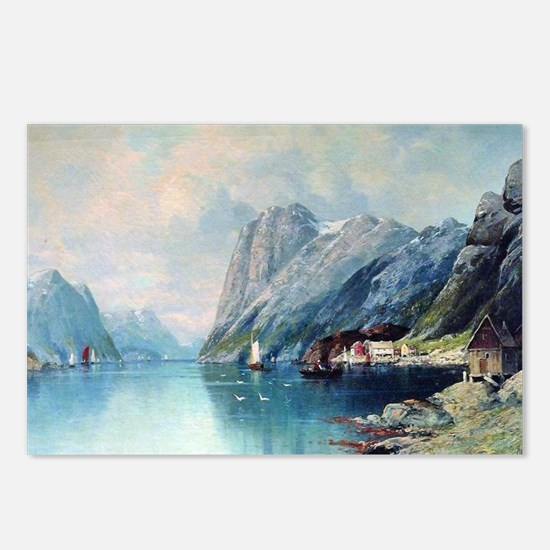 Fjord in Norway, painting Postcards (Package of 8)