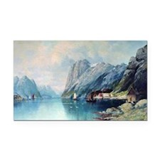 Fjord in Norway, painting by  Rectangle Car Magnet