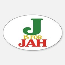 J is for Jah Oval Decal