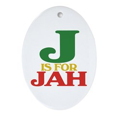 J is for Jah Oval Ornament