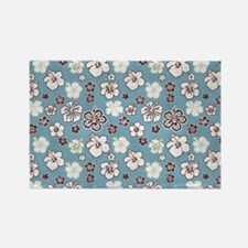 Tropical Hibiscus Carolina Blue Rectangle Magnet