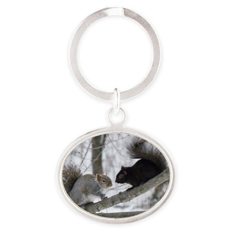 Black and Gray Squirrel Oval Keychain