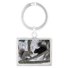 Black and Gray Squirrel Landscape Keychain