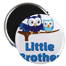 Little Brother Owl Blue Magnet