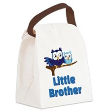 Little Brother Owl Blue Canvas Lunch Bag