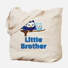 Little Brother Owl Blue Tote Bag