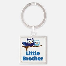 Little Brother Owl Blue Square Keychain