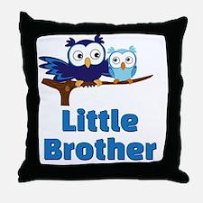 Little Brother Owl Blue Throw Pillow