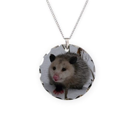 Snow Possum Necklace Circle Charm
